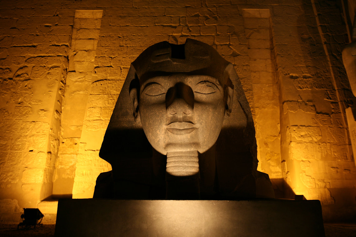 Statuary at entrance to Luxor Temple Egypt